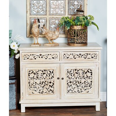 Suncrest Rustic Mahogany Carved Floral 2 Door Accent Cabinet