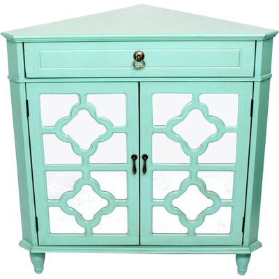Charlwood Wooden Corner Accent Cabinet with 1 Drawer and 2 Doors Color: Green