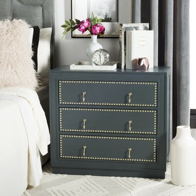 Castleberry 3 Drawer Accent Chest Color: Steel Teal/Gold