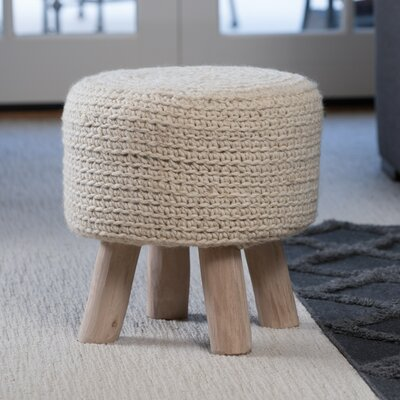 Clawson Fabric Accent Stool Color: Ivory