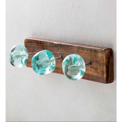Custis Recycled Glass and Reclaimed Wood Wall Mounted Coat Rack