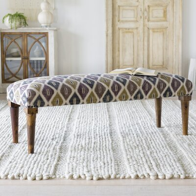 Buchanan Upholstered Bench Upholstery: Gray/Green