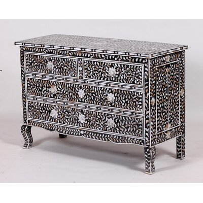 Montanez Mother of Pearl 4 Drawers Accent Chest Color: Black