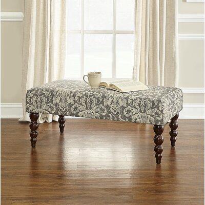 Lolita Print Upholstered Bench Upholstery: Gray Damask