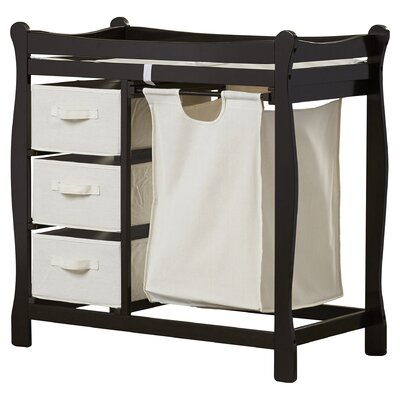 Ocean Alexander Sleigh Style Baby Changing Table with 3 Baskets and Hamper Color: Espresso