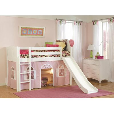 Bonneau Low Loft Bed Configuration: Low Loft Bed with Bottom Curtain and Slide