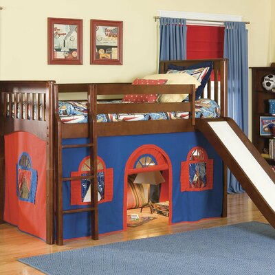 Bonneau Twin Low Loft Solid Wood Bed Configuration: Low Loft Bed with Bottom Curtain and Slide