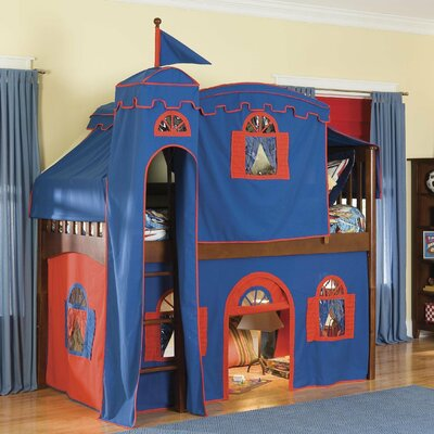 Bonneau Twin Low Loft Solid Frame Bed Configuration: Low Loft Bed with Castle Tent