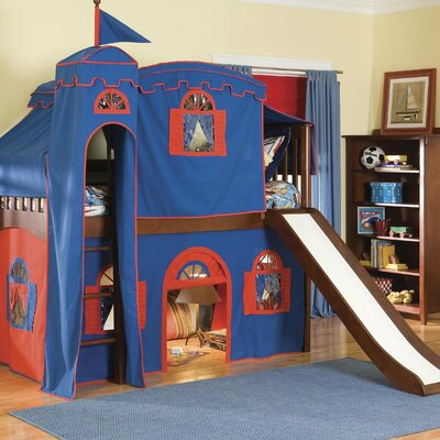 Bonneau Twin Low Loft Solid Frame Bed Configuration: Low Loft Bed with Castle Tent and Slide