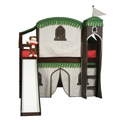 Bonneau Twin Low Loft Bed with Tower Color: Espresso, Configuration: with Tent and Slide