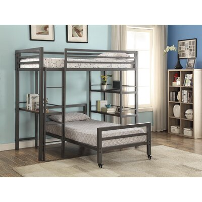 Haylie Twin Loft Bed with Bookshelves and Writing Desk