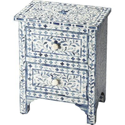 Denton 2 Drawer Accent Chest Color: Blue Bone Inlay