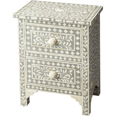 Denton 2 Drawer Accent Chest Color: Grey Bone Inlay