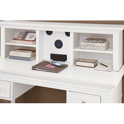 "Javin 14"" H x 47.5"" W Wood Desk Hutch Finish: White"
