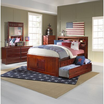 Kaitlyn Mate's and Captain's Bed with Drawers Configuration: 3 Drawers + 1 Trundle Unit, Size: Twin, Color: Merlot