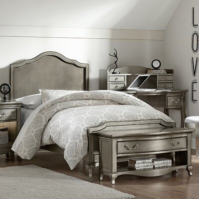 Winifred Bed Size: Twin, Color: Antique Silver