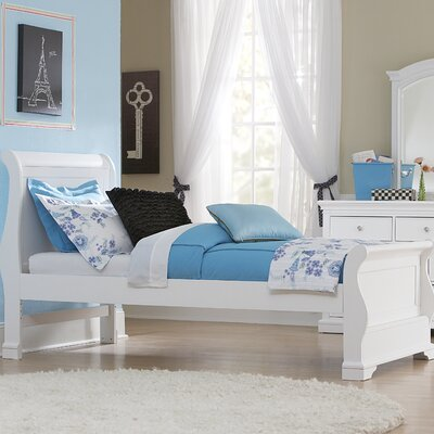 Ayalisse Wood Sleigh Bed Color: White, Size: Twin