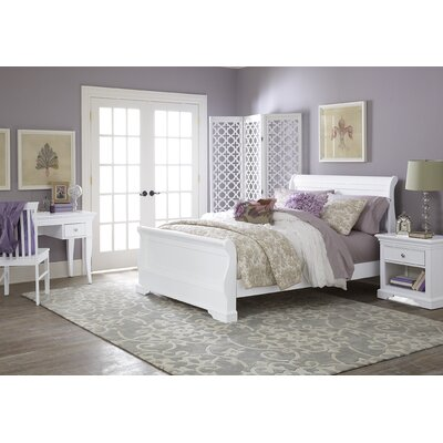Ayalisse Wood Sleigh Bed Color: White, Size: Full