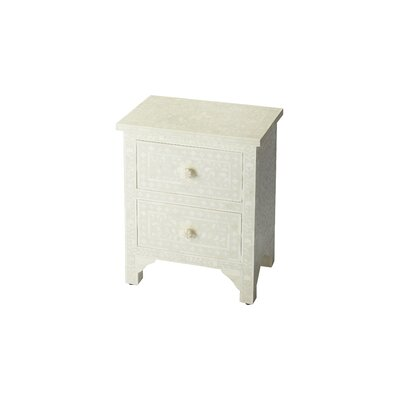 Denton 2 Drawer Accent Chest Color: White Bone Inlay
