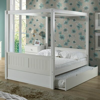 Oakwood Canopy Bed with Trundle Size: Full, Bed Frame Color: White