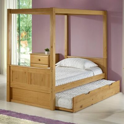Oakwood Canopy Bed with Trundle Bed Frame Color: Natural, Size: Twin