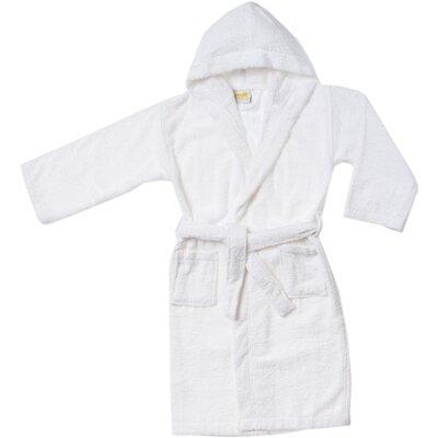 Viola Premium Long-Staple Combed Cotton Kids Hooded Bathrobe Size: Large, Color: White