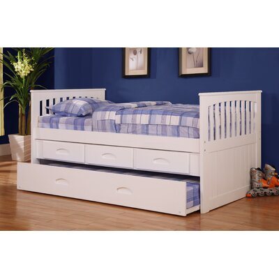 Trumble Twin Slat Bed with Storage Configuration: 3 Drawers + 1 Trundle Unit, Color: White