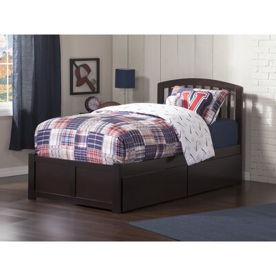 Timmy Extra Long Twin Slat Bed with Storage Color: Espresso