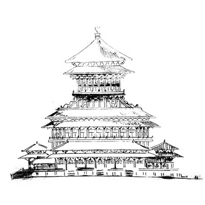 Heartelier Temple Painting Print