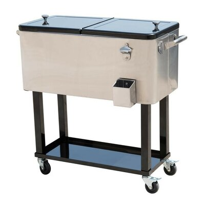 80 Qt. Rolling Portable Drink Cooler Cart Color: Stainless Steel