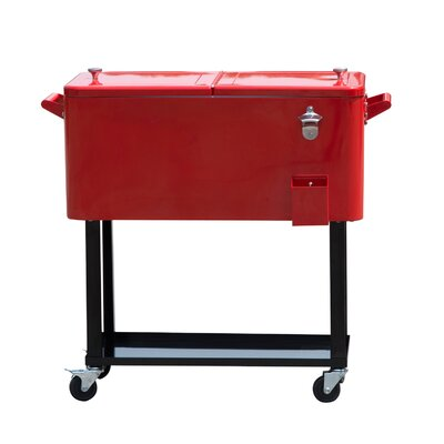80 Qt. Rolling Portable Drink Cooler Cart Color: Red