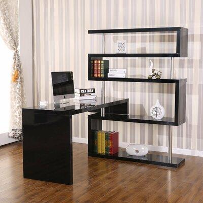 Foldable Rotating Corner Writing Desk Finish: Black
