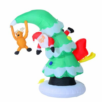 7' Inflatable LED Lit Santa Claus Stuck in Christmas Tree Lawn Yard Decoration