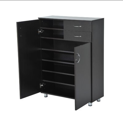 16 Pair Shoe Storage Cabinet Finish: Dark Brown