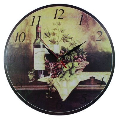 Obique 34cm Red Wine Bottle and Grapes Wall Clock