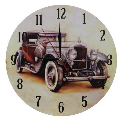 Obique Nostalgic Retro 28cm Brown Car Wall Clock