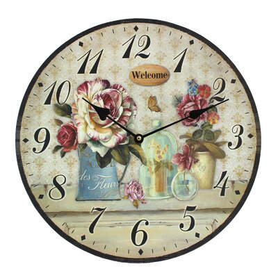 Obique 34cm Garden Flowers and Welcome Wall Clock