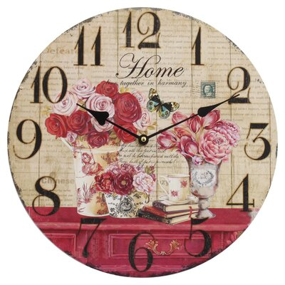 Obique 34cm Flowers and Home Wall Clock