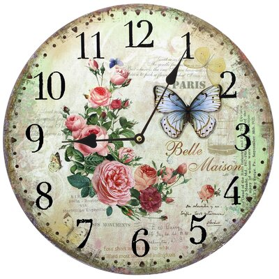 Obique 34cm Belle Maison, Flowers and Butterfly Wall Clock