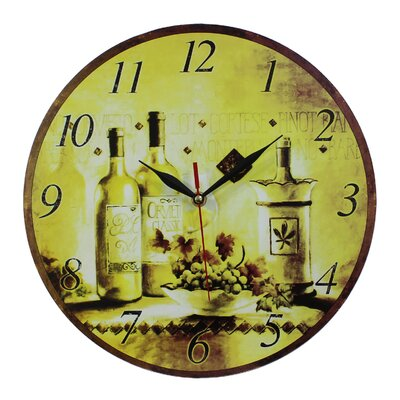 Obique 34cm Wine Bottles and Green Grapes Wall Clock