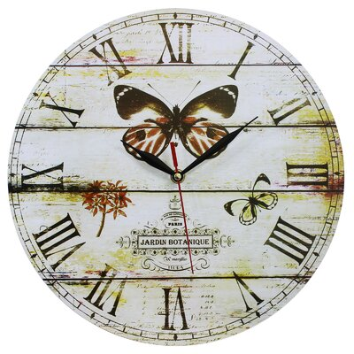 Obique 34cm Butterfly and Jardin Botanique Wall Clock