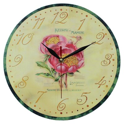 Obique 28cm Pink Peony Wall Clock