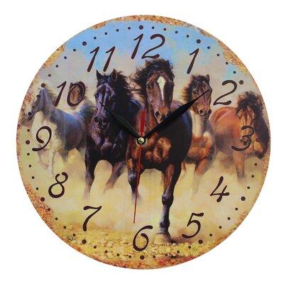 Obique Wild Horses Running 28cm Wall Clock