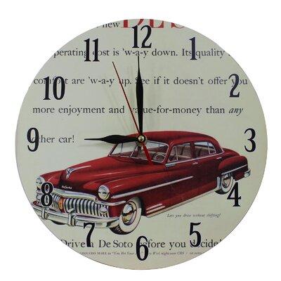 Obique Nostalgic Retro 28cm Desoto Red Car Wall Clock