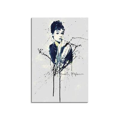 PaulSinusArt Enigma Audrey Hepburn Painting Print on Canvas