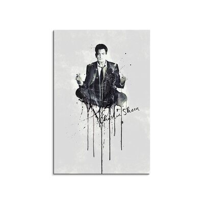 PaulSinusArt Enigma Charlie Sheen Painting Print on Canvas
