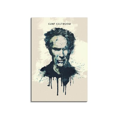 PaulSinusArt Enigma Clint Eastwood Painting Print on Canvas