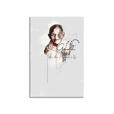 PaulSinusArt Enigma Mohandas Gandhi Painting Print on Canvas