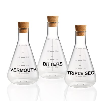 Azalee S/3 Mixer Decanter 10 oz Each, Vermouth, Triple Sec, Bitters With Cork Stopper And Wood Crate