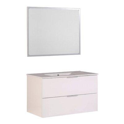 "Luxy 35"" Wall-Mounted Single Bathroom Vanity Set with Mirror"
